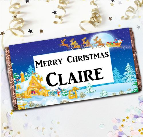 Personalised Merry Christmas Milk Chocolate Bar - Christmas Stocking Filler Gift N49
